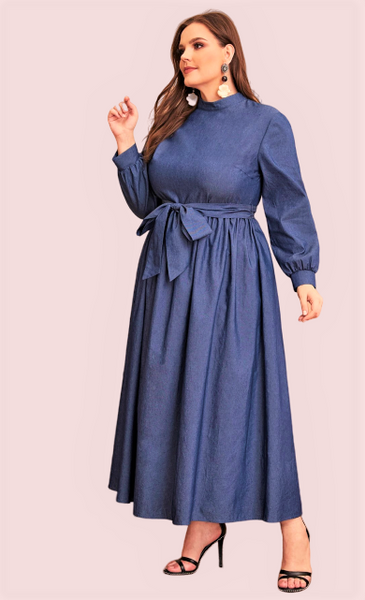 Chambray Flare Denim Maxi Dress