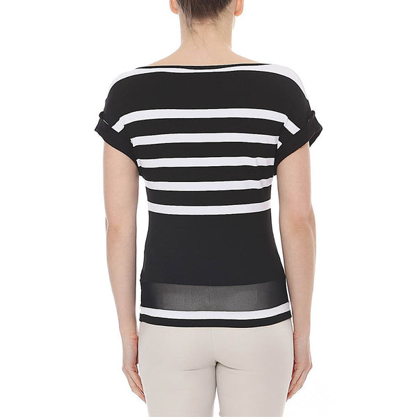 Striped Top with Sheer Detail