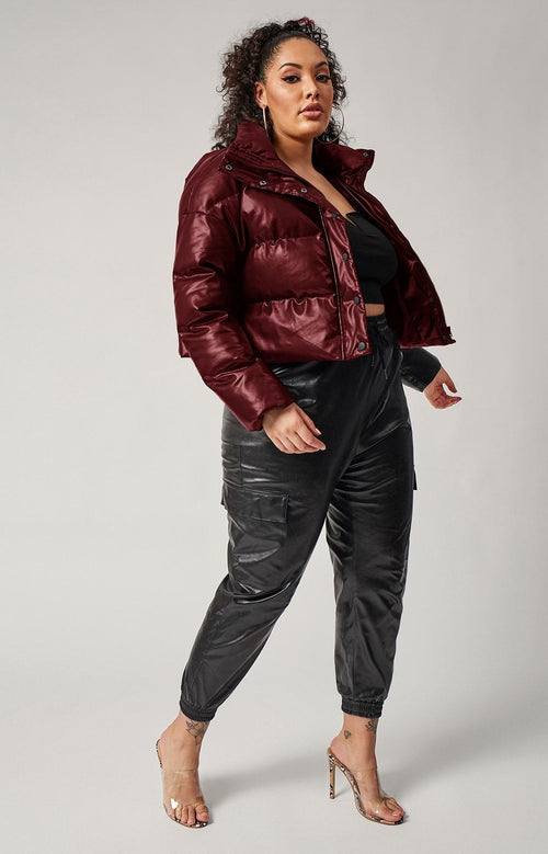 Down For It Vegan Leather Puff Jacket (Wine)