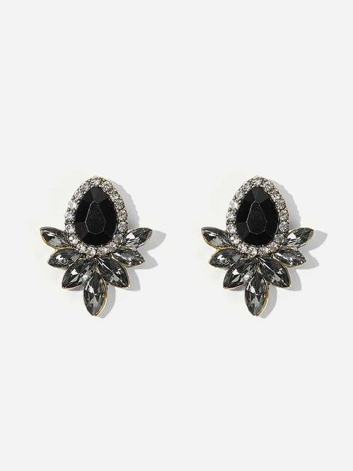 Black Oval Gems Stud Earrings