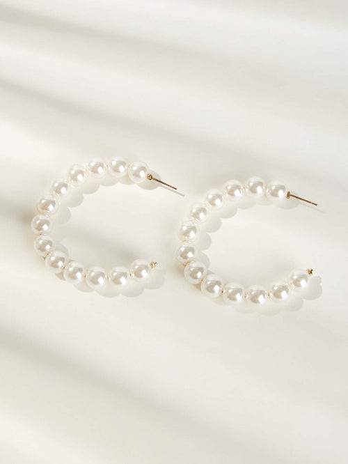A World Of Pearls Hoop Earrings
