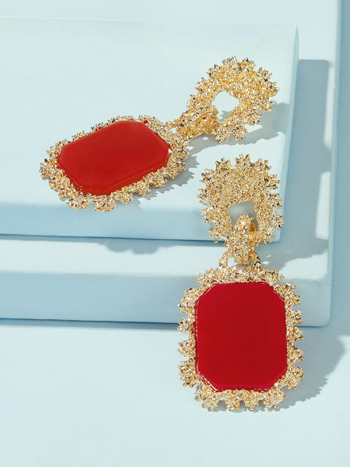 Chic Red Radiant Framed Drop Earrings