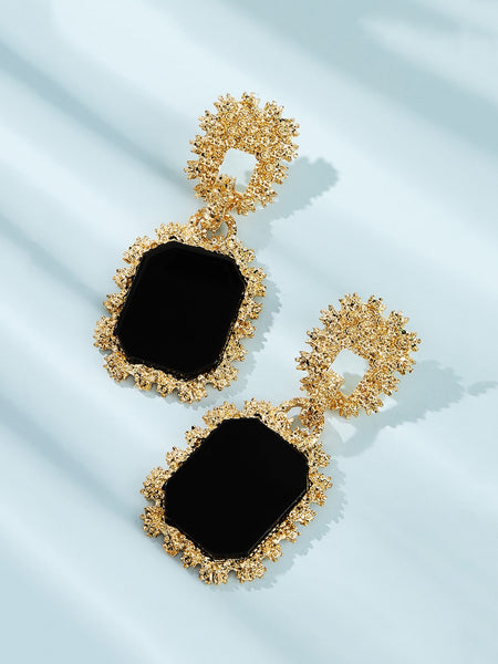 Chic Ebonized Framed Drop Earrings