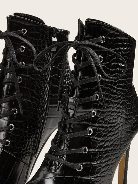 Croco-Cute Laced Boots