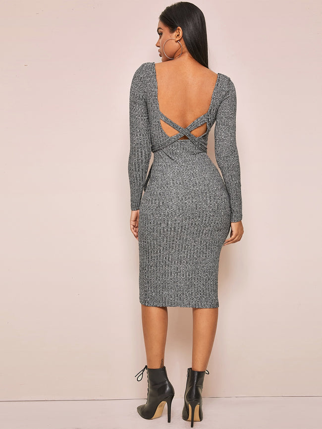 Classic Knit Sweater Midi Dress
