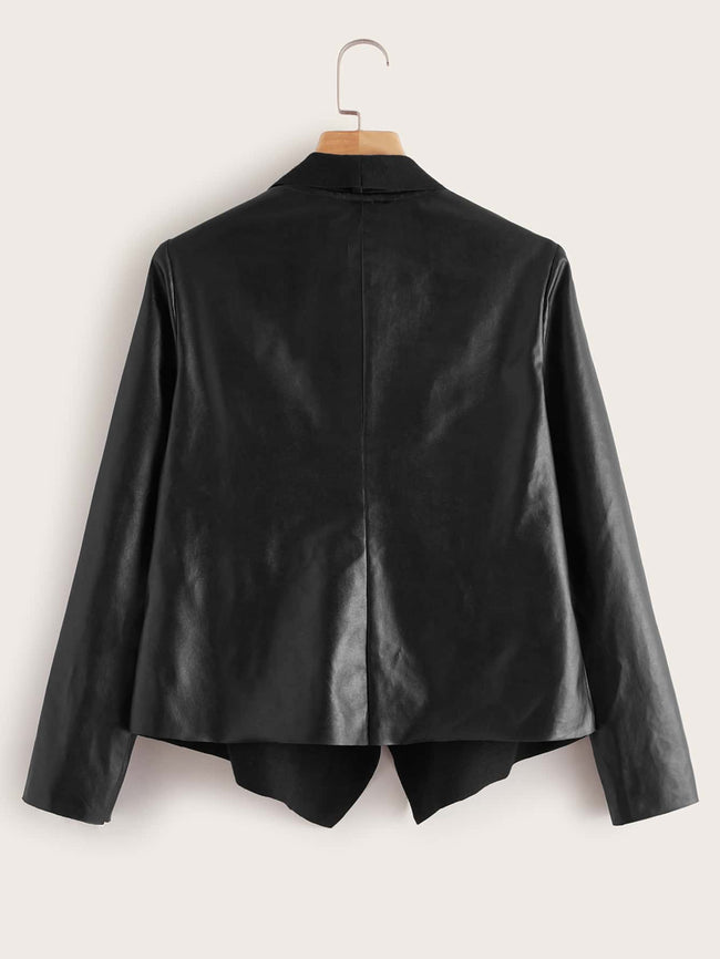 Trendy Leather Flare Jacket