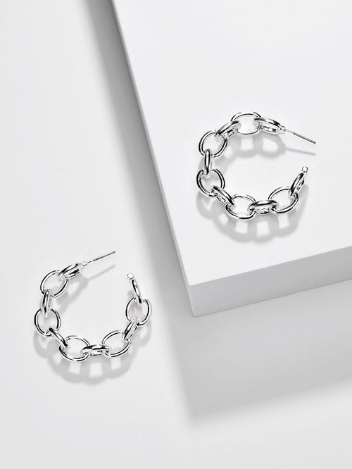 Link & Chain Hoop Earrings