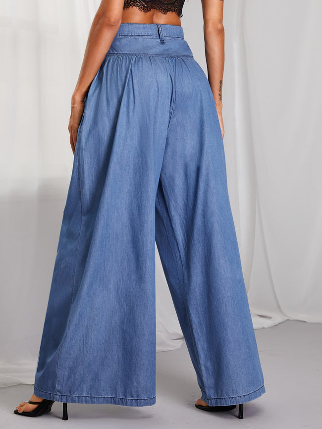 Trendy Culotte Denim Pants