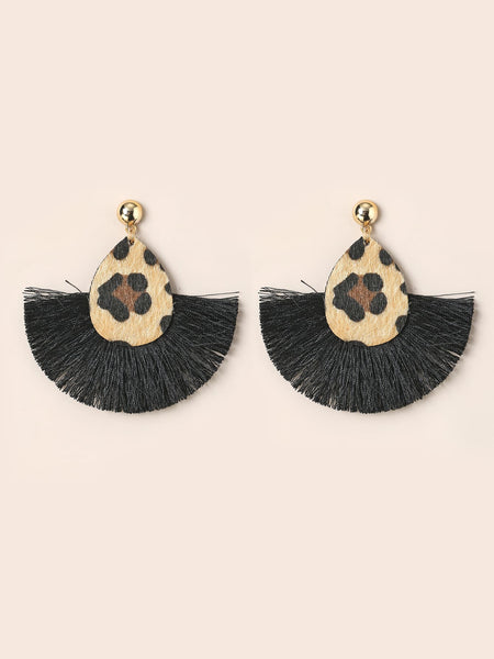 Chic Cheetah Tassel Earrings