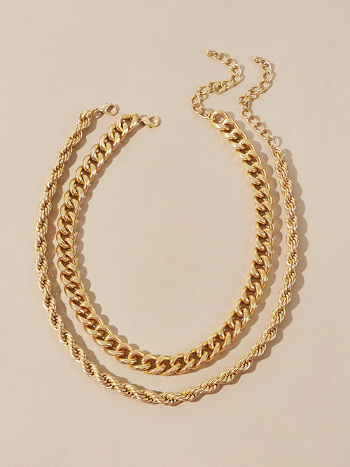 Double Up Rope & Chain Necklace