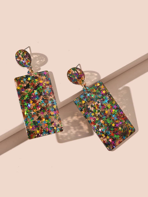 ** BACK IN STOCK** Speckled Colorful Square Drop Earrings