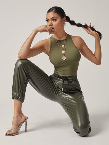 A Fashionista's Vegan Leather Jogging Pants