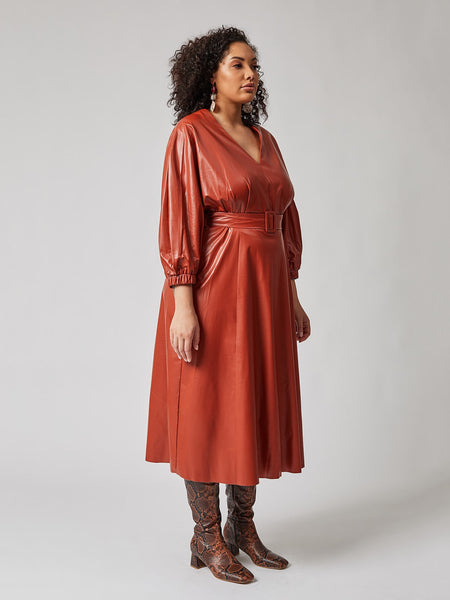 Stylish Leather Flare Dress (Plus Size)