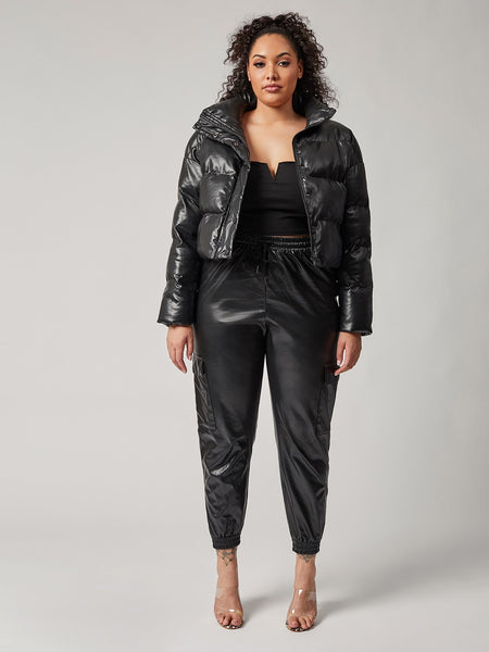 Down For It Vegan Leather Puff Jacket