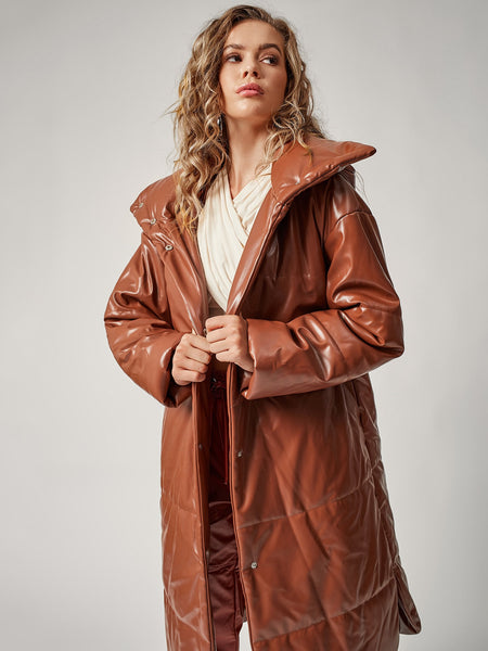 Trendy Longline Quilted Vegan Leather Coat