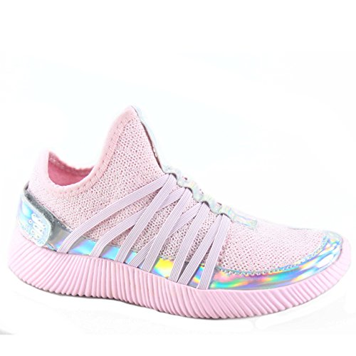 Trendy Pink & Metallic With Cross Straps Sneakers