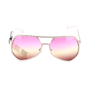 Retro Metal Oversized Frame Flight Sunnies (Gold/Pink)