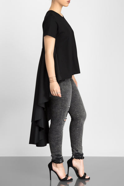 Fiercely Flared High Low Top (Black)