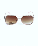 Retro Metal Oversized Frame Flight Sunnies (Brown)