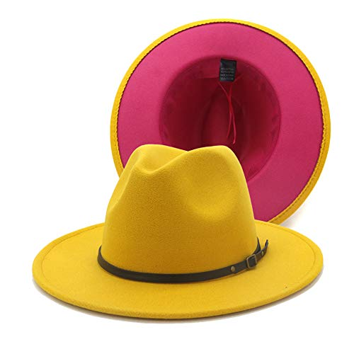 Chic Colorblock Fedora Hat (Yellow)
