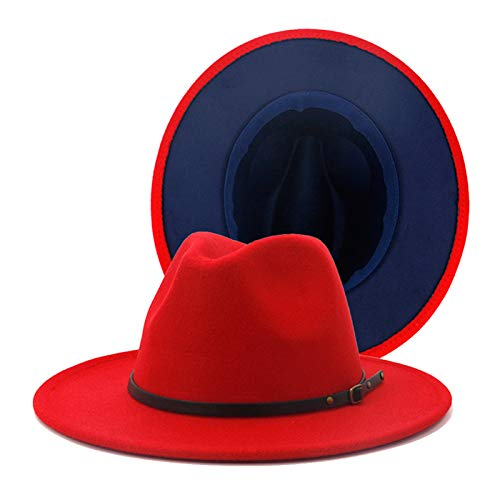 Chic Colorblock Fedora Hat (Red)