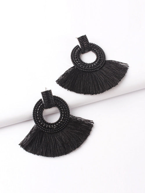 Fanpage For Tassle Hoops Earrings (Black)