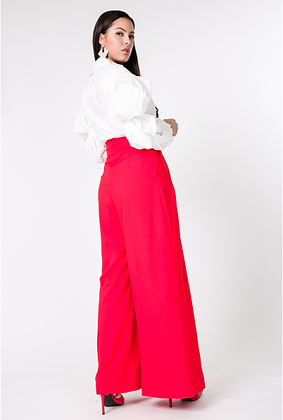Fierce In Flare Palazzo Pants (Red)