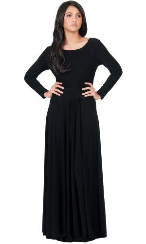 ROUND NECK WITH PLEATED FLARE SKIRT MAXI