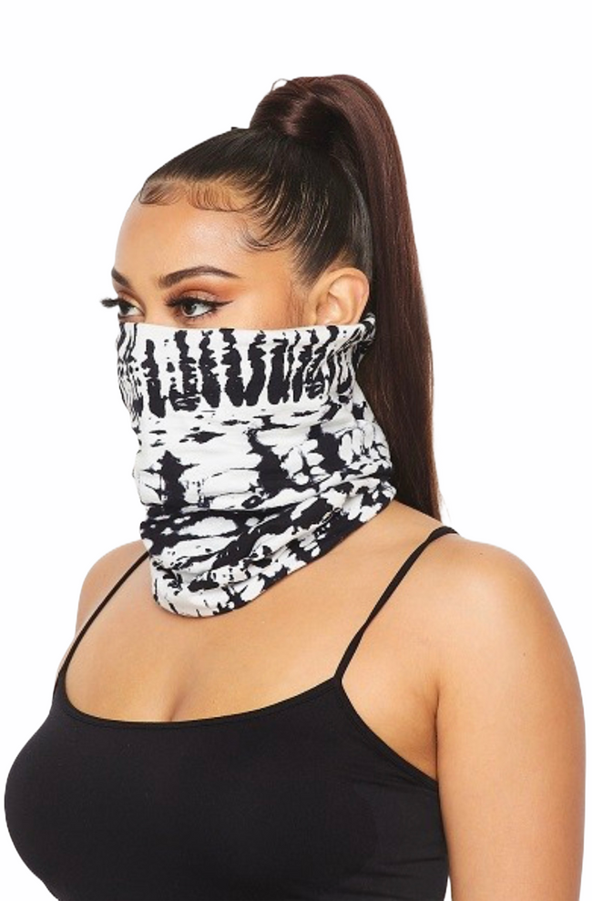 White Delight Tie Dye Tubular Face Mask (In Stock, Ready To Ship)
