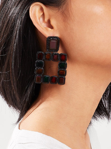 Gemly Squared Drop Earrings (Pewter)
