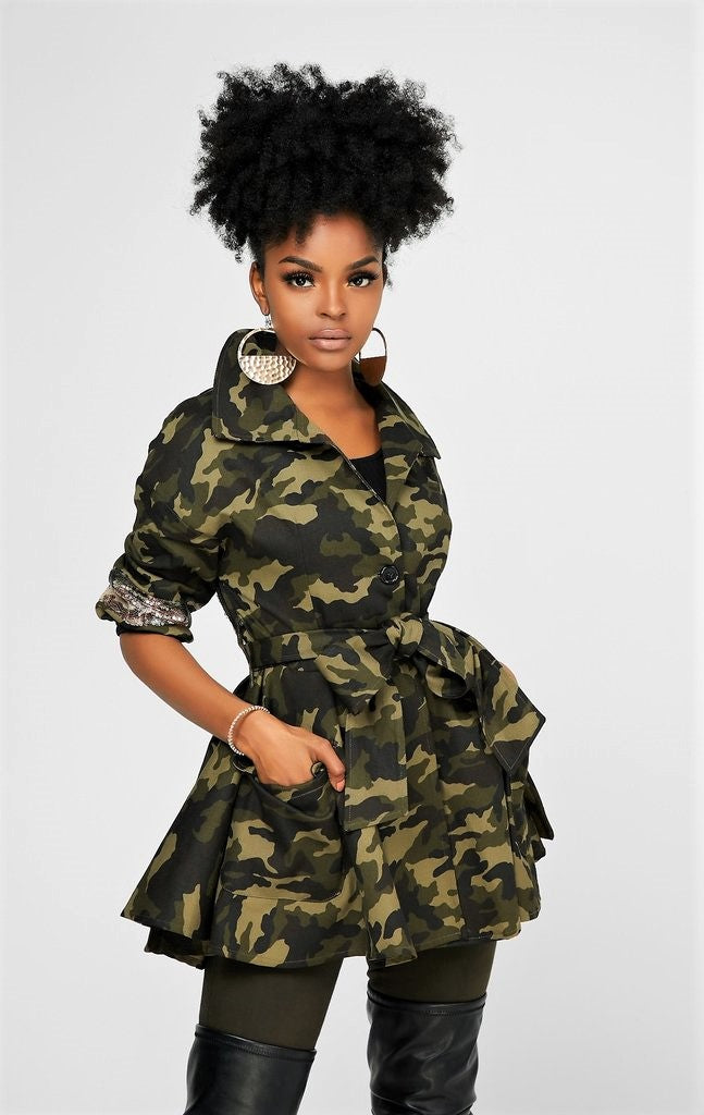 **BACK IN STOCK** The Belted Peplum Dapper Jacket (Army)