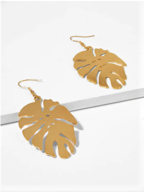Solid Leaf Drop Earrings
