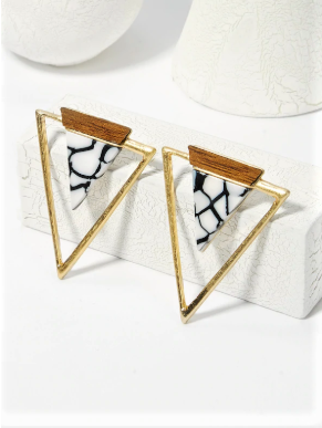 Framed Marble TriangleI Earrings
