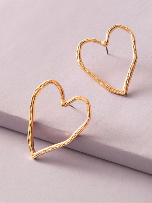 Heartfelt Crusted Gold Earrings