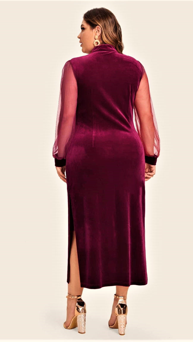 Cranberry Cheer Velvet Maxi Dress