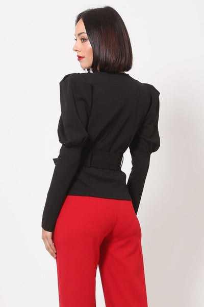 All Puffed Up Shoulder Buckle Belt Jacket