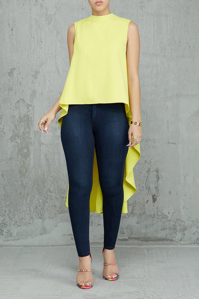 Fiercely Longline High Low Top (Yellow)