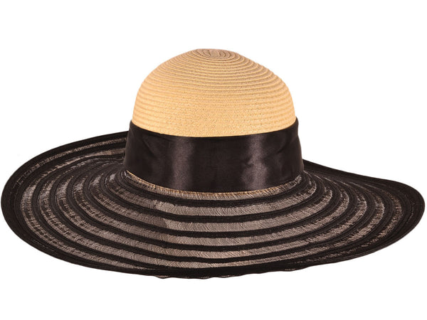 Wide Brim Hat With Ribbion