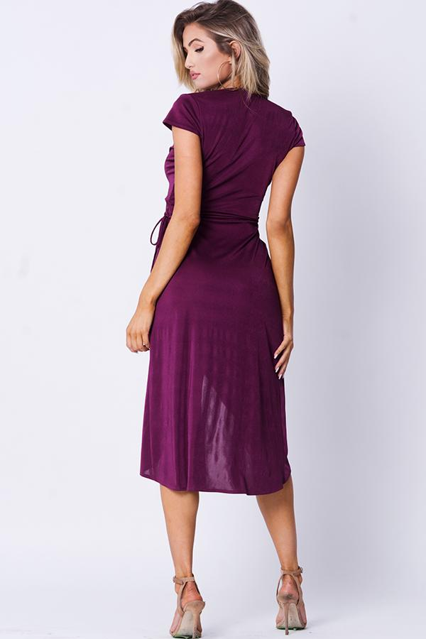 Sleek Sultry Surplice Wrap Dress (Plum)