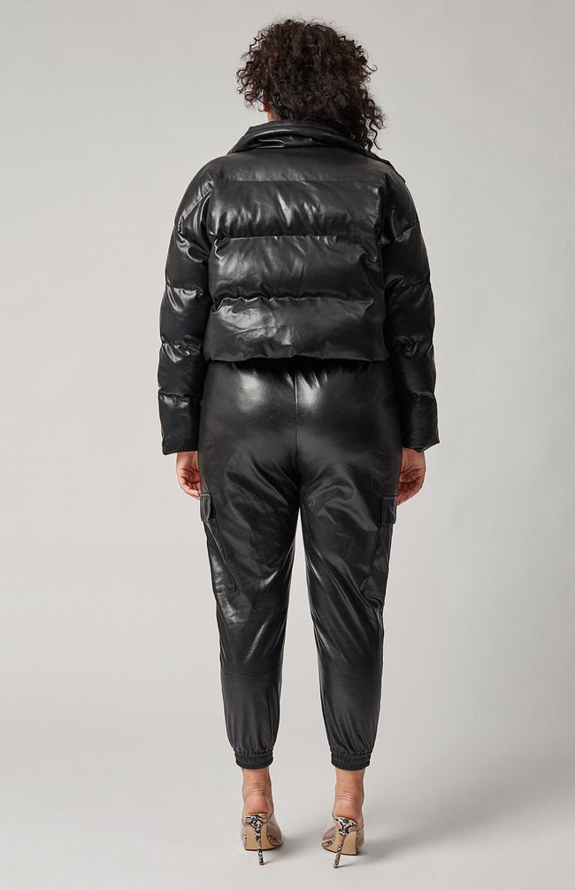 Down For It Vegan Leather Puff Jacket (Black)