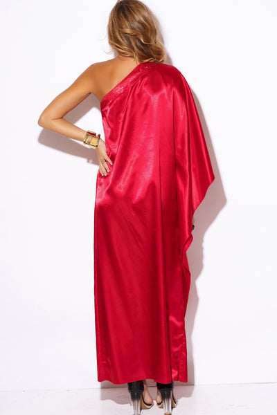 RED SATIN BEJEWELED ONE SHOULDER KIMONO MAXI DRESS
