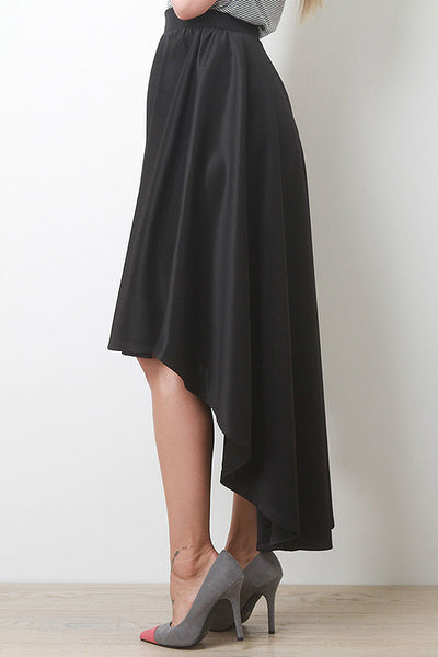 Trendy Dramatic High Low Flare Skirt