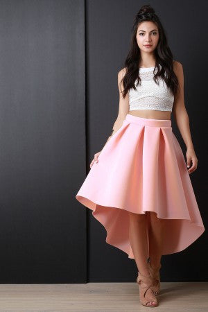 Scuba Box Pleated High-Low A-Line Skirt