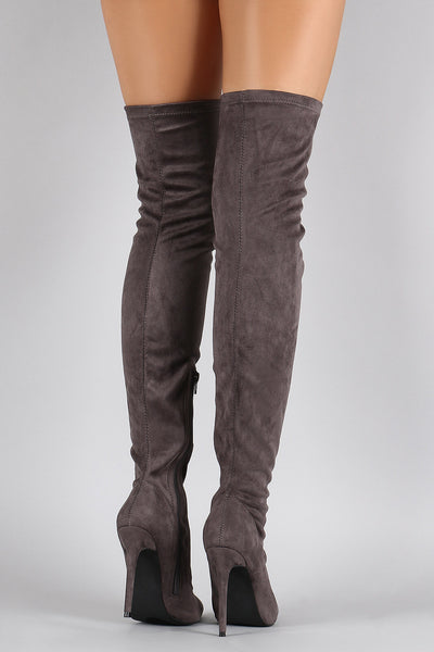 Suede Fitted Stiletto Thigh High Boots