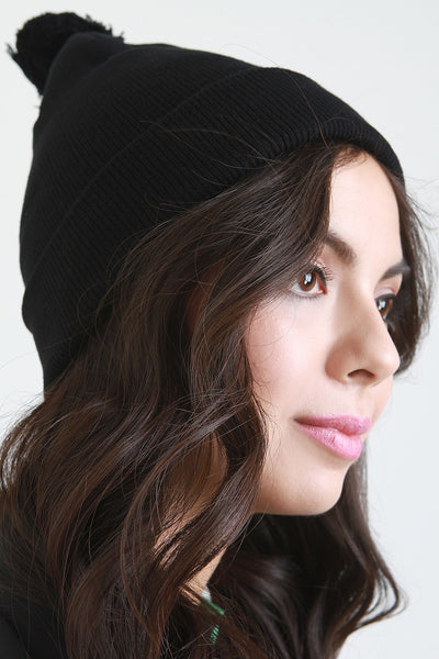 Pom Pom Ribbed Skully Cap
