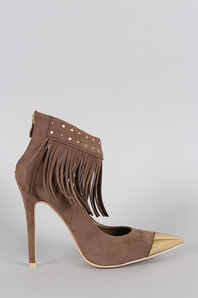 Studded Fringe Ankle Cuff Pointy Toe Stiletto Pump