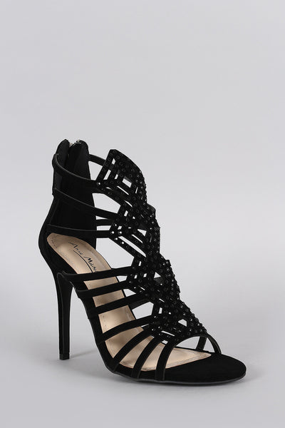 Suede Strappy Rhinestone Stiletto