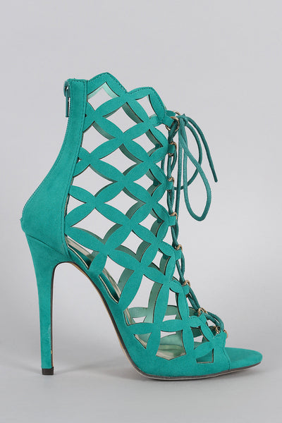 Suede Caged Lace Up Heel