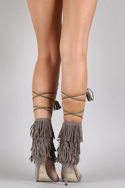 Suede Fringe Cuff Lace Up Single Sole Heel