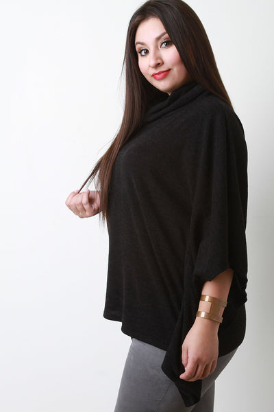 Soft Knit Cowl Neck Poncho Top